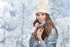 Maschera di bella donna in cappello di inverno immagini stock