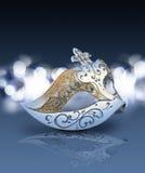 Maschera di carnevale con fondo brillante nell'umore blu Fotografia Stock