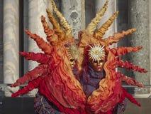 Maschera di carnevale di Sun a Venezia, Italia Fotografie Stock Libere da Diritti
