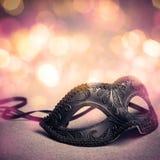 Maschera nera di carnevale Fotografie Stock
