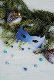 Maschera di carnevale sul ramo dell'albero di Natale Immagine Stock Libera da Diritti