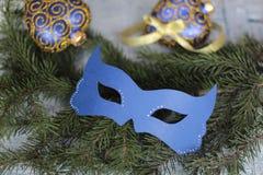 Maschera di carnevale sul ramo dell'albero di Natale Fotografia Stock Libera da Diritti
