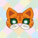 Maschera di carnevale di un gatto con un legame Fotografie Stock Libere da Diritti