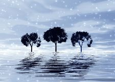 Maschera di inverno con gli alberi illustrazione di stock
