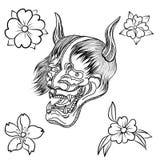 Maschera di Oni con il fiore della peonia e di Sakura Fotografie Stock