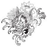 Maschera di Oni con il fiore della peonia e di Sakura Fotografia Stock