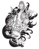 Maschera di Oni con il fiore della peonia e di Sakura Immagini Stock Libere da Diritti