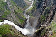 Maschera di panorama della cascata di Voeringfossen Fotografia Stock Libera da Diritti