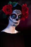 Maschera di Santa Muerte di trucco di Halloween Immagini Stock Libere da Diritti