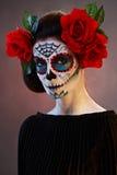 Maschera di Santa Muerte di trucco di Halloween Immagine Stock Libera da Diritti