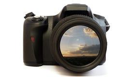 Maschera di tramonto dell'obiettivo di macchina fotografica Fotografie Stock Libere da Diritti