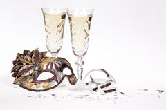 Maschera di travestimento e di Champagne Fotografia Stock Libera da Diritti