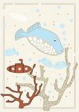 Maschera di vettore con i pesci illustrazione di stock