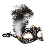 Maschera dipinta a mano nera di Venezia con le piume Fotografia Stock