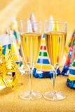 Maschera e champagne di travestimento Fotografie Stock
