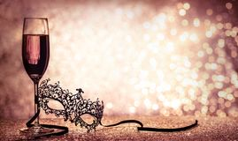 Maschera e champagne veneziani di carnevale Immagini Stock