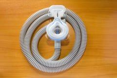 Maschera e tubo flessibile di CPAP Fotografia Stock