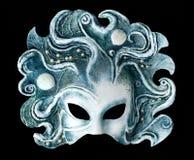 Maschera interna e carnaval che comprende l'elemento di acqua, isolato su fondo nero Fotografie Stock