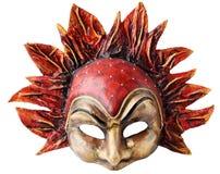 Maschera interna e carnaval che comprende l'elemento di fuoco, isolato su fondo bianco Fotografia Stock Libera da Diritti