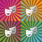 Maschera l'icona con ombra sopra le carte da parati decorate colori differenti Fotografia Stock Libera da Diritti
