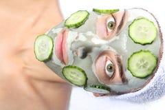 Maschera naturale del cetriolo Fotografia Stock