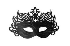 Maschera nera di carnevale su un fondo bianco 1 Immagini Stock
