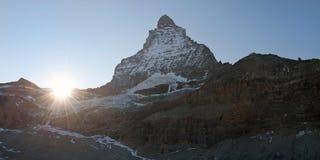 Maschera panoramica del picco del Matterhorn, Svizzera Immagini Stock Libere da Diritti