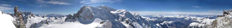 Maschera panoramica di Mont Blanc, alpi francesi Immagine Stock Libera da Diritti