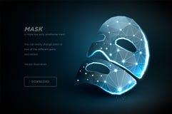 Maschera per il fronte Arte poligonale del wireframe isolata su fondo nero oncept delle nuove tecnologie nell'industria di bellez illustrazione di stock