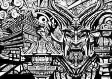 Maschera sinistra del samurai con le zanne royalty illustrazione gratis