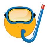 Maschera subacquea dell'emoticon su fondo bianco Fotografia Stock Libera da Diritti