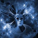 Maschera surreale di carnevale e modello di frattale da una griglia e luminoso Fotografie Stock