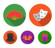 Maschera teatrale, cilindro, fan, maschera sugli occhi Le icone stabilite della raccolta del teatro nello stile piano vector le a royalty illustrazione gratis