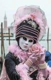Maschera veneziana con Rosa Fotografia Stock Libera da Diritti