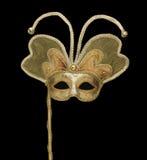 Maschera veneziana dell'oro con le campane Fotografie Stock Libere da Diritti