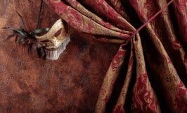 Maschera veneziana di carnevale di vecchio travestimento con le piume e il rhinesto Fotografie Stock Libere da Diritti
