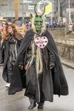 Maschera verde spaventosa alla parata di carnevale, Stuttgart del diavolo Immagini Stock Libere da Diritti