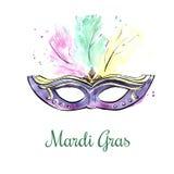 Maschera viola dell'acquerello con i gioielli Immagini Stock