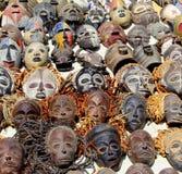 Maschere africane primitive tribali della raccolta Fotografie Stock Libere da Diritti
