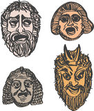 Maschere classiche di dramma del greco antico Immagini Stock Libere da Diritti