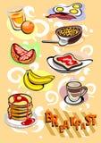 Maschere del menu della prima colazione Immagini Stock