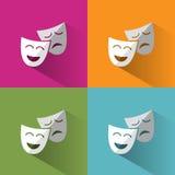 Maschere dell'icona con ombra sugli ambiti di provenienza dei colori differenti Fotografia Stock Libera da Diritti