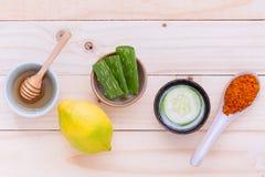 Maschere facciali casalinghe e naturale degli ingredienti naturali della stazione termale ingred immagini stock libere da diritti
