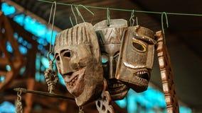 Maschere rituali antiche dell'India [il Kochi forte, India - dicembre 2015] Fotografia Stock