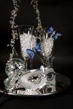 Mascherina & vetri d'argento di Champagne fotografia stock libera da diritti