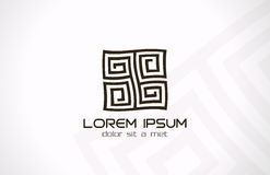 Logo astratto del labirinto. Logica del rebus di puzzle. Fotografie Stock