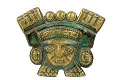 Mascherina cerimoniale antica peruviana isolata su bianco Fotografie Stock Libere da Diritti