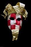 Mascherina checkered rossa & bianca di carnevale Fotografia Stock Libera da Diritti