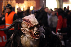 Mascherina da Perchtenlauf, Graz del diavolo Immagine Stock Libera da Diritti