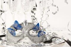 Mascherina del partito sul cassetto d'argento Fotografia Stock